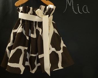 Paper Bag SKIRT and SASH - Giraffe Print - Pick the size Newborn up to 12 Years by Boutique Mia
