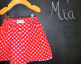 BUY 2 get 1 FREE - Skirt - Red and Pink Dots - Pick the size Newborn up to 14 Years by Boutique Mia