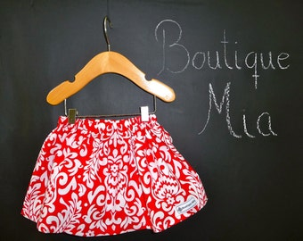 BUY 2 get 1 FREE - Skirt - Christmas - Red Damask - Pick the size Newborn up to 14 Years by Boutique Mia