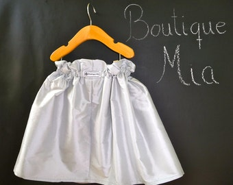 Paper Bag SKIRT - Silver Dupioni Silk - Pick the size Newborn up to 12 Years by Boutique Mia