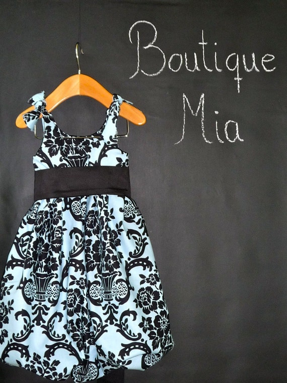 CHILDREN -Balloon Dress - Blue and Black Damask - Pick the size Newborn up to 12 Years - by Boutique Mia