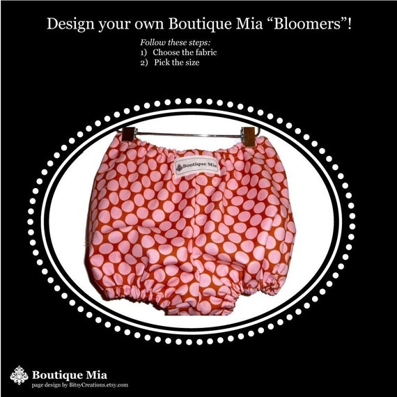 Design your own Boutique Mia 'BLOOMERS' - Pick the size Newborn up to 8 Years - by Boutique Mia