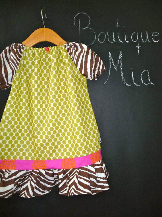 A-line DRESS - Amy Butler - Love - Pick the Size Newborn to 12 Years - by Boutique Mia