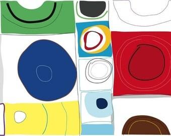 SALE - Primary - 3 Modern Art Print on velvet Fine Art Paper 8.5 x 11
