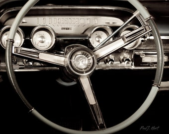 "Vintage Mercury Car Dashboard Framed 16 x 20"" Sepia Metallic Print"
