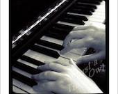 Playing Piano - 5x5 Metallic Photograph