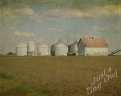 Indiana Farm with White Barn and Silos 8x10 Metallic Photograph with Overlay