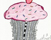 Life is Sweeter with Sprinkles - 8x10 Art Print (Multiple Border Color Choices) - Metallic Paper