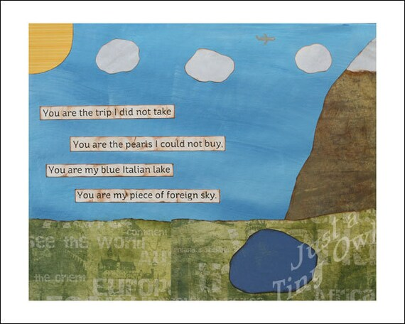 You Are My Piece of Foreign Sky 8x10 Mixed Media Print