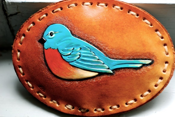Hand Tooled Leather Bluebird of Happiness Belt Buckle