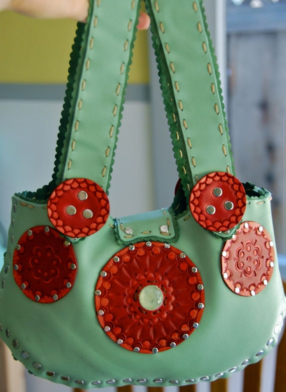 RESERVED Mint Green Supple Leather Bag. Hand Stitched and Riveted. Lined in Forest green suede. Red Mandalas for meditation. Prehnite center
