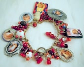 OOAK Bold Red and Silver Beaded Dangle GUINEA PIG Charm Bracelet - Featuring Party Pig Queen Nurse and more