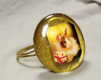 Gold GUINEA PIG CHRISTMAS Handmade Cuff Bracelet - One of a Kind!