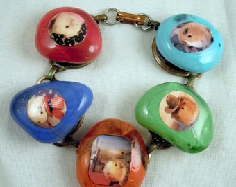GUINEA PIG BRACELET - Chunky Heavy Glass Rainbow Colored Charm Photo Bracelet - The Guinea Pig Cowboy Patriot Wanderer and more