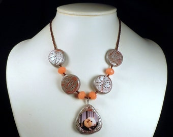 Orange BABY GUINEA PIG Necklace with Polymer Clay & Candy Jade