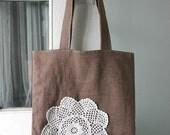 SALE Linen Doily Tote Bag
