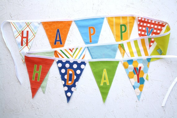 Happy Birthday Fabric Flag Banner Garland