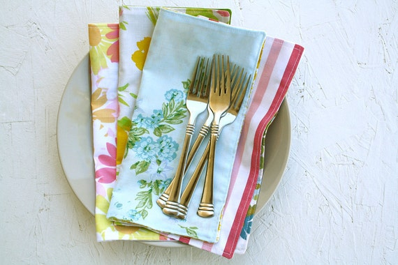 Vintage Mix Cloth Napkins, Set of 4