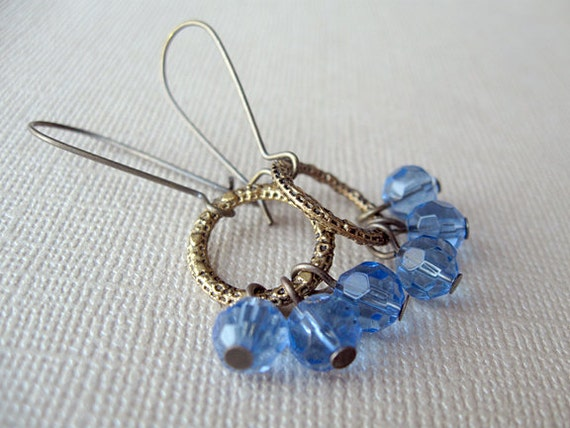 Blue Glass and Antique Brass Earrings-- Blue Cluster