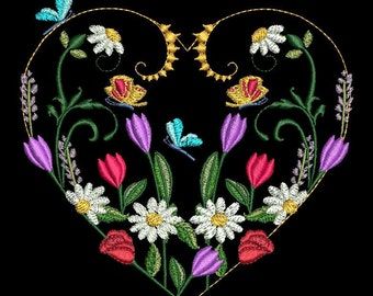 Golden Hearts and Flowers & More Machine Embroidery Set
