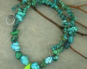 Chunky Turquoise Necklace with Gaspeite Teardrop