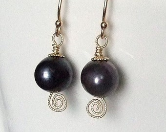 Black Pearl Earrings in Gold with Twisted Wire Spiral, Freshwater Pearl Earrings