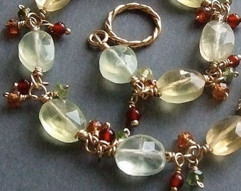 Yellow Green Prehnite Bracelet in Gold with Tunduru Sapphires, Yellow Green Bracelet, Wire Wrapped Gemstone Bracelet
