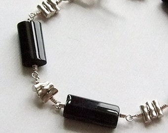 Black Onyx Bracelet with Thai Hill Tribe Silver Beads, Black Beaded Bracelet