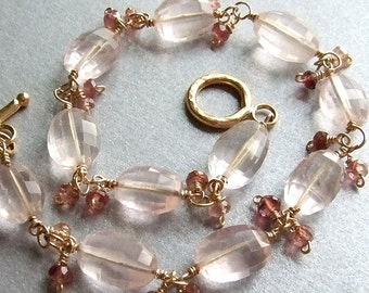 Faceted Rose Quartz Bracelet in Gold with Pink Tourmalines, Pale Pink Bracelet, Handmade Gemstone Bracelet