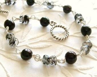 Black Pearl Bracelet with Toumalinated Quartz in Silver, Pearl and Gemstone Bracelet, Silver Pearl Jewelry