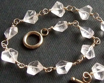 Petite Fancy Cut Rose Quartz Bracelet in Gold, Wire Wrapped Gemstone Bracelet