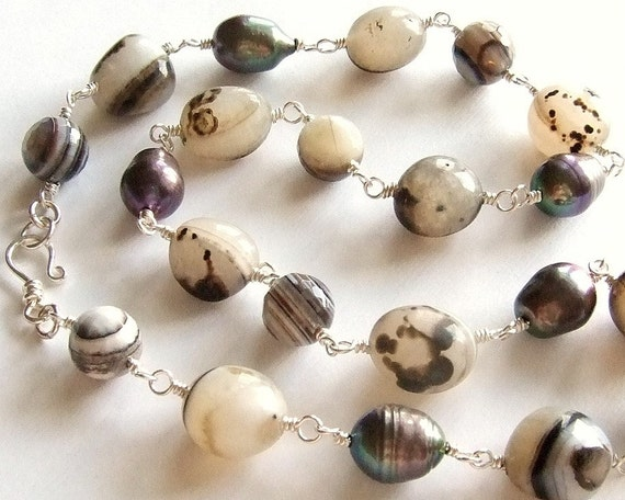 Striped and Spotted Agate Necklace with Charcoal Baroque Pearls in Silver