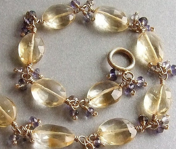 "Faceted Citrine and Iolite (""Water Sapphire"") Bracelet in Gold"