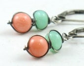 Coral and Chrysoprase Wrapped Oxidized Silver Earrings