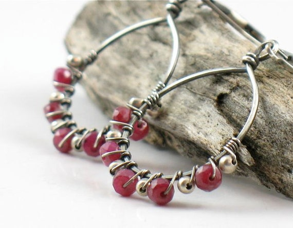 Ruby and Silver Wrapped Hoop Earrings