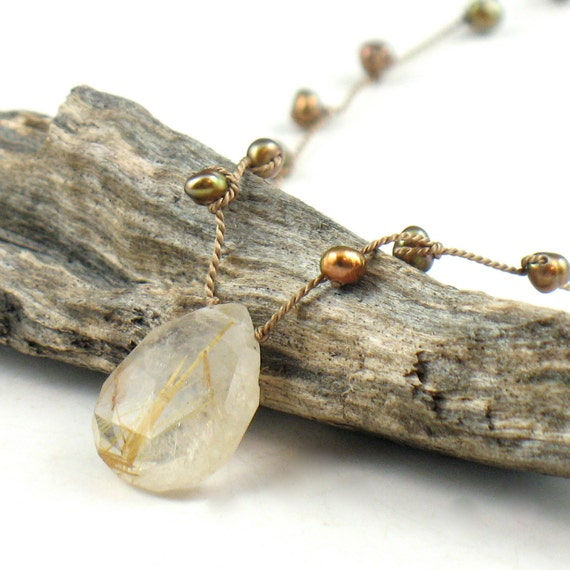 Rutilated Quartz and Knotted Golden Brown Pearl Necklace