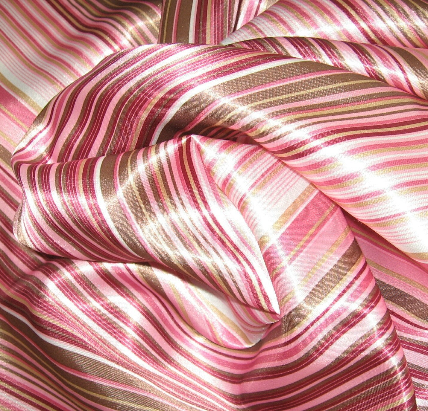 Pink and chocolate striped satin fabric 4 yds sale for Satin fabric