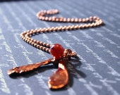 Copper Maple Seed Necklace Preserved Helicopter Warm Orange Carnelian Faceted Autumn Fall Ball Pelline Chain Iridescent Natural Nature Hot