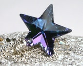 LAST ONE - Supernova ... Rare Aqua Vitrail Light Swarovski Crystal Star on Wrapped Sterling Silver ... Necklace ... Light Lilac Blue