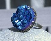 Sagittae ... Sparkling Royal Blue Titanium Drusy Quartz on Antiqued Bronze ... Adjustable Druzy Ring