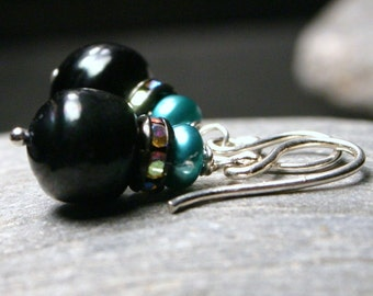Black and Teal Pearl Earrings Cool Freshwater Jet Aqua Turquoise Sterling Silver Swarovski Rhinestone Rondelle Simple Bright Drop Everyday