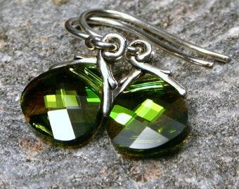 Moss Green Crystal Earrings Olivine AB Olive Lime Pine Swarovski Flat Briolette Simple Earthy Womens Jewelry Gifts Under 25 by walkonthemoon