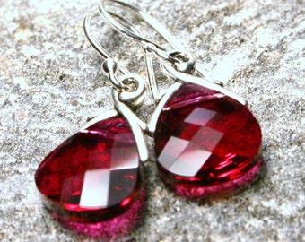 Ruby Red Crystal Earrings Swarovski Briolette Teardrop Sterling Silver Garnet January July Birthstone Valentine Love Scarlett Cardinal