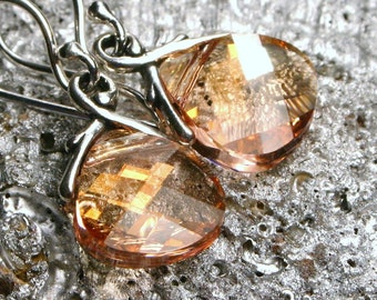 Peach Crystal Earrings Pink Champagne Swarovski Flat Briolette Drops Sterling SIlver Georgia Apricot Blush Retiring Color by walkonthemoon