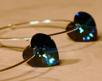 Teal Blue Crystal Heart Earrings Bermuda Delicate Sterling Silver Hoop Deep Aqua Turquoise Indigo Ink Valentines Love Gift for Her Moms Day