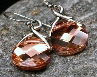 Rose Gold Crystal Earrings Romantic Soft Rosaline Swarovski Flat Briolette Petite Dangle Sterling Silver Everyday Drop Women's Jewelry Pink