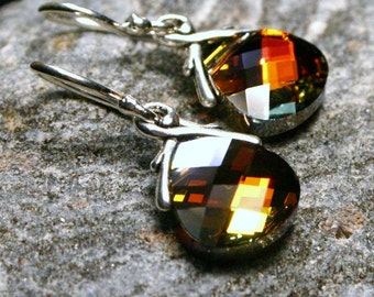 Flame Orange Crystal Earrings Cathedral Crystal Swarovski Flat Briolette Drops Fiery Earthy Sparklers Gifts Under 25 Campfire Sparkle HOT