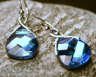 Aquamarine Crystal Earrings Vitrail Light Bright Topaz Blue Flat Swarovski Briolette Drops Sterling Silver Petite Dangle Unique Turquoise