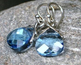 Blue Topaz Crystal Earrings Aquamarine Aqua Sky Baby Pastel Dazzling Swarovski Briolette Teardrops Raindrops Faceted March Birthstone Drop
