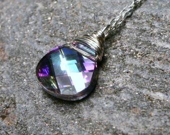 Vitrail Light Flat Briolette Swarovski Crystal Wrapped in Sterling Silver ... Handmade necklace